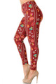 Wholesale Buttery Soft Burgundy Christmas Ornament Plus Size Leggings - 3X-5X