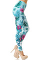 Wholesale Double Brushed Blooming Pink Floral Leggings