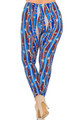 Wholesale Buttery Soft Metallic USA Flag Extra Plus Size Leggings - 3X-5X