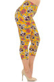 Wholesale Buttery Soft Mustard Summer Sugar Skull Plus Size Capris