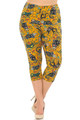 Wholesale Buttery Soft Kitty Cat Mustard Sugar Skull Plus Size Capris