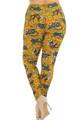 Wholesale Buttery Soft Kitty Cat Mustard Sugar Skull Plus Size Leggings