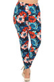 Wholesale Buttery Soft Painted Floral Extra Plus Size Leggings - 3X-5X