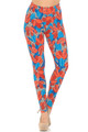 Wholesale Buttery Soft Red and Blue Cactus Leggings