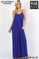 Wholesale Adjustable V-Neck Rayon Plus Size Maxi Dress with Pockets - 51 Inch Length