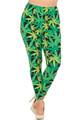 Wholesale Buttery Soft Cannabis Marijuana Extra Plus Size Leggings - 3X-5X - EEVEE