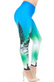 Wholesale Creamy Soft Blue Sunset Plus Size Leggings - USA Fashion™