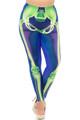 Wholesale Creamy Soft Cyan Blue Skeleton Bones Plus Size Leggings - USA Fashion™