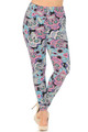 Wholesale Buttery Soft Pastel Sugar Skull Extra Plus Size Leggings - 3X-5X