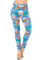 Wholesale Creamy Soft Festive Blue Christmas Leggings