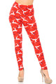 Wholesale Buttery Soft Ruby Red Leaping Reindeer Christmas Leggings
