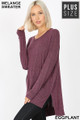 Wholesale Brushed Melange Round Neck HI-LOW Plus Size Top