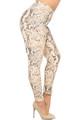 Wholesale Buttery Soft Beige Boa Snakeskin Plus Size Leggings