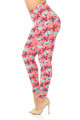 Wholesale Buttery Soft Coral Palm Tree Plus Size Leggings
