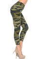 Wholesale Buttery Soft Green Camouflage High Waisted Capri - EEVEE