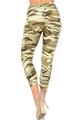 Wholesale Buttery Soft Light Olive Camouflage High Waisted Capri - EEVEE