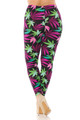 Wholesale Buttery Soft Fuchsia Marijuana Extra Plus Size Leggings - 3X-5X