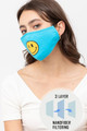 Wholesale Bright Blue Smiley Face Mask with Built In Filter and Nose Bar