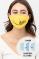 Wholesale Bright Yellow Smile Face Mask with Built In Filter and Nose Bar