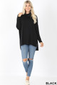 Full body front image of Black Wholesale Cowl Neck Hi-Low Long Sleeve Top
