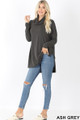 Full body front image of Ash Grey Wholesale Cowl Neck Hi-Low Long Sleeve Top