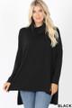Front image of Black Wholesale Cowl Neck Hi-Low Long Sleeve Top