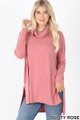Front image of Dusty Rose Wholesale Cowl Neck Hi-Low Long Sleeve Top