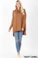 Full body front image of Deep Camel Wholesale Cowl Neck Hi-Low Long Sleeve Top