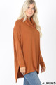 Right side image of Almond Wholesale Cowl Neck Hi-Low Long Sleeve Top