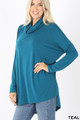 45 Degree Front image of Teal Wholesale Cowl Neck Hi-Low Long Sleeve Top