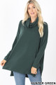 Front of Hunter Wholesale Cowl Neck Hi-Low Long Sleeve Top