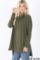 45 Degree Front image of Dark Olive Wholesale Cowl Neck Hi-Low Long Sleeve Top