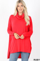 Front image of Ruby Wholesale Cowl Neck Hi-Low Long Sleeve Top
