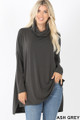 Front image of Ash Grey Wholesale Cowl Neck Hi-Low Long Sleeve Top