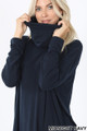 Image showing neck pulled up on Midnight Navy Wholesale Cowl Neck Hi-Low Long Sleeve Top