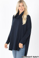 45 Degree Front image of Midnight Navy Wholesale Cowl Neck Hi-Low Long Sleeve Top
