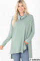 Front image of Light Green Wholesale Cowl Neck Hi-Low Long Sleeve Top