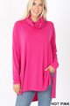 Front image of Hot Pink Wholesale Cowl Neck Hi-Low Long Sleeve Top