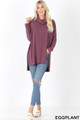 Full body front image of Eggplant Wholesale Cowl Neck Hi-Low Long Sleeve Top