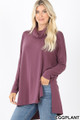 Front image of Eggplant Wholesale Cowl Neck Hi-Low Long Sleeve Top
