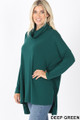 45 Degree Front image of Deep Green Wholesale Cowl Neck Hi-Low Long Sleeve Top