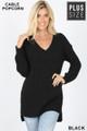 Front image of Black Wholesale Cable Knit Popcorn V-Neck Hi-Low Plus Size Sweater