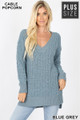 Front image of Blue Grey Wholesale Cable Knit Popcorn V-Neck Hi-Low Plus Size Sweater