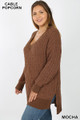 45 degree image of Mocha Wholesale Cable Knit Popcorn V-Neck Hi-Low Plus Size Sweater