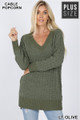 Front image of Light Olive Wholesale Cable Knit Popcorn V-Neck Hi-Low Plus Size Sweater