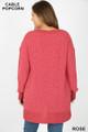 Back side image of Rose wholesale Cable Knit Popcorn V-Neck Hi-Low Plus Size Sweater
