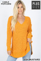 Front image of Ash Mustard Wholesale Cable Knit Popcorn V-Neck Hi-Low Plus Size Sweater