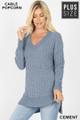 Front image of Cement Wholesale Cable Knit Popcorn V-Neck Hi-Low Plus Size Sweater