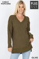 Front image of Olive Wholesale Cable Knit Popcorn V-Neck Hi-Low Plus Size Sweater