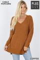 Front image of Copper Wholesale Cable Knit Popcorn V-Neck Hi-Low Plus Size Sweater